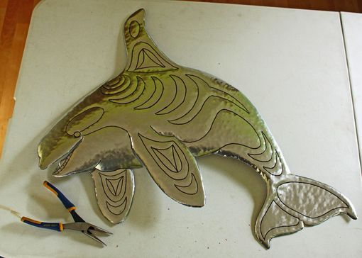 Custom Made Orca Killer Whale Sculpture - Aluminum Metal Whale Wall Art