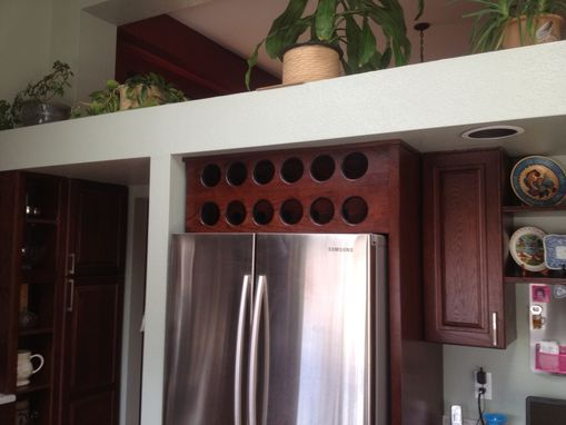 Custom Made Open Wine Cabinet Above Refrigerator
