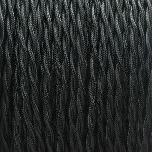 Custom Made Black Rayon Twisted Wire 2-Conductor 18-Gauge - (8 Foot Length)