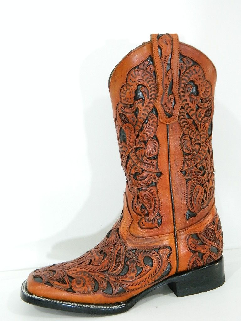 Hand Crafted Hand Tooled And Inlayed Men Cowboy Boots Square Toe ...