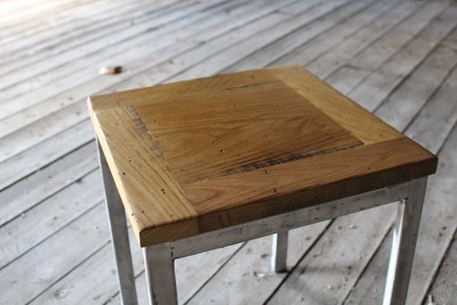 Custom Made Chestnut And Steel Side Table - Free Shipping