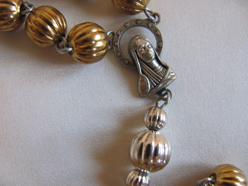 Custom Made St. Benedict Gold And Silver Plated Rosary