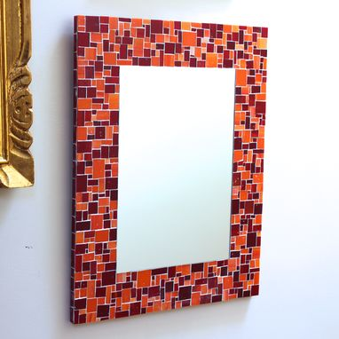 Custom Made Mosaic Pattern Bathroom Wall Mirror In Red & Orange Stained Glass