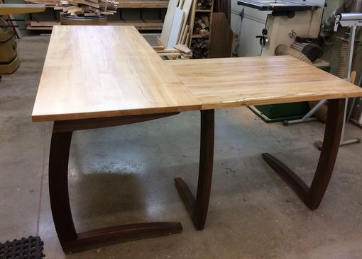Custom Made Cantilever Walnut And Maple Desk Set