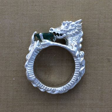 Custom Made Silver Dragon Ring With Large 8mm Emerald - Statement Ring