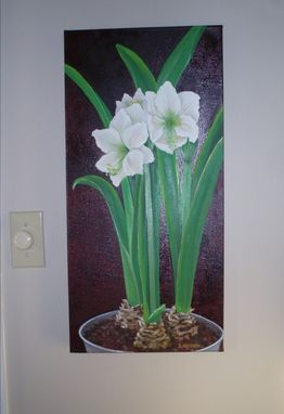 Custom Made Realistic Oil Painting Of Potted Amaryllis Plants