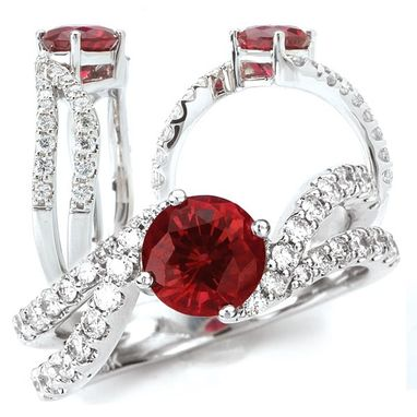 Custom Made 18k Chatham Lab-Created 6.5mm Round Ruby Engagement Ring With Twisted Diamond Band