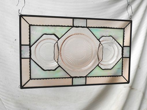 Custom Made Recycled Pink Depression Glass, Antique Stained Glass Window Transom, Old Window Valance