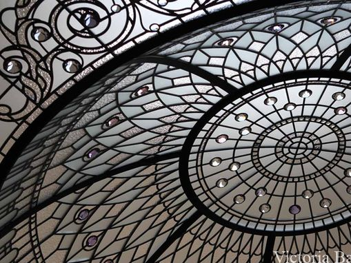 Custom Made Stained Leaded Glass Domed Skylight With Colored Crystal Jewels And Hand Beveled Glass