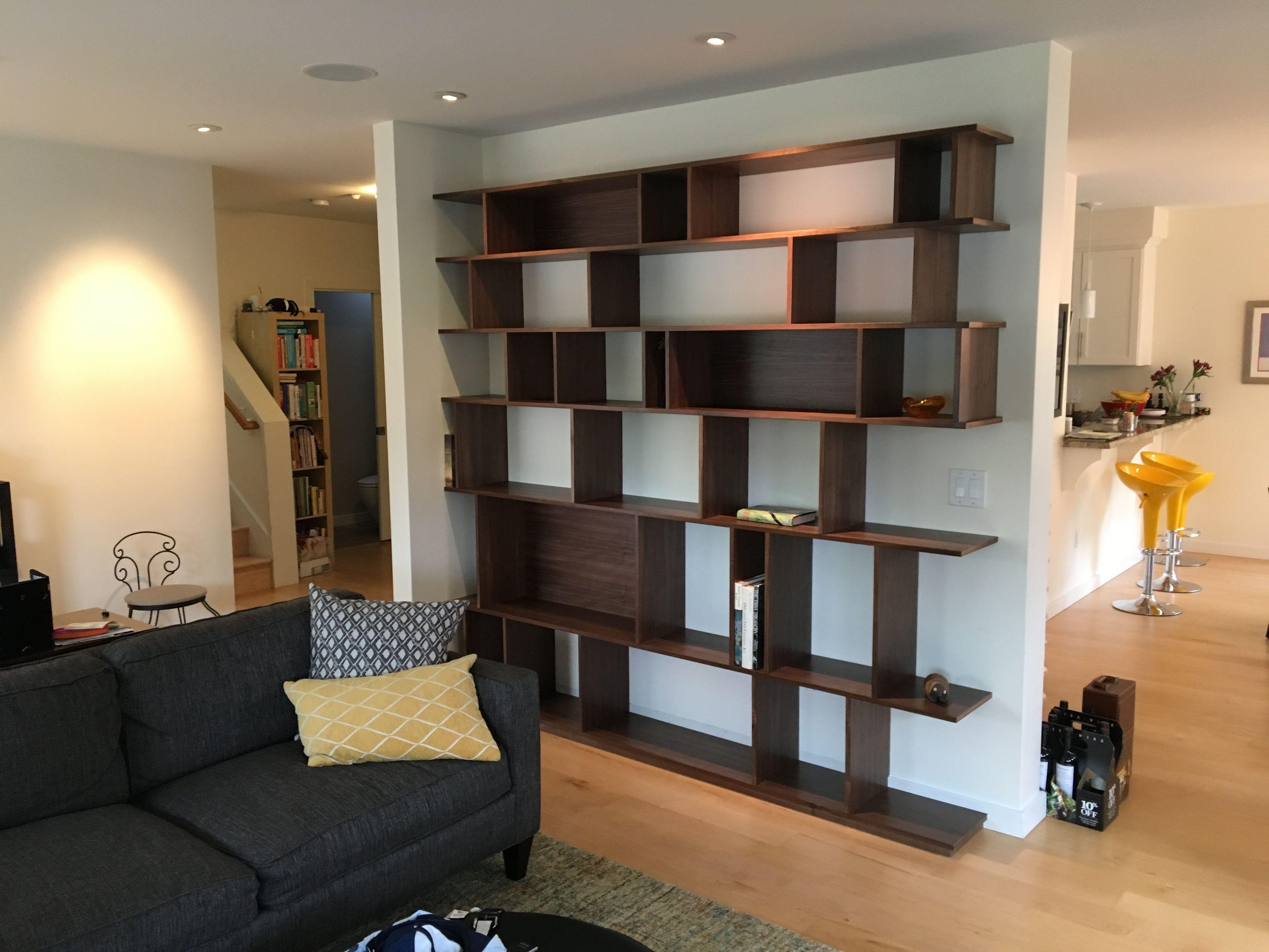Custom Made Walnut Bookcase And Cerused White Oak Floating Desk