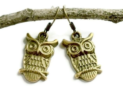 Custom Made Bronze Owl Earrings