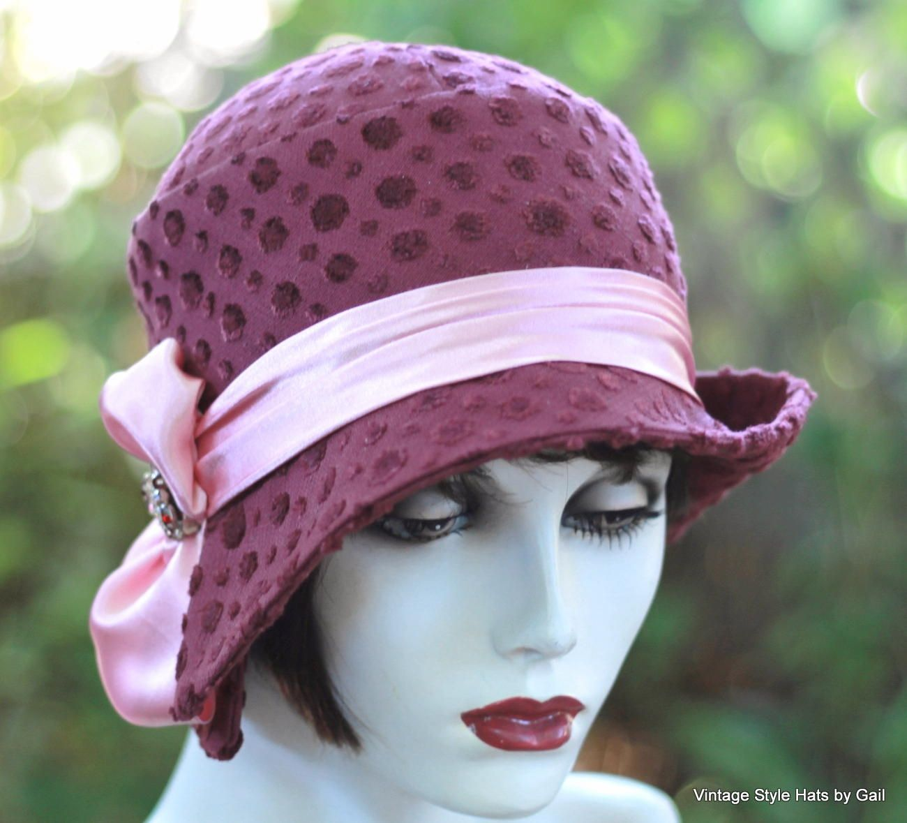 48dd31bab1d Custom Made Great Gatsby Designer Fabric 1920 S Cloche Hat In Fuchsia And  Pink