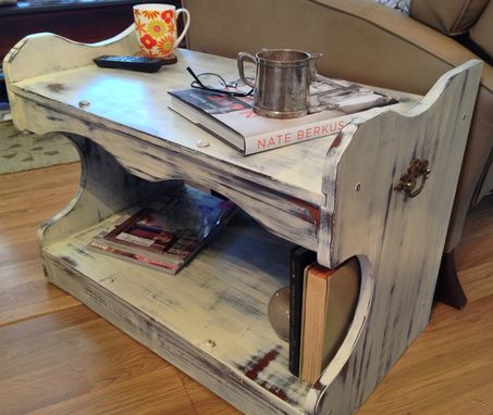 Custom Made Vintage Painted Distressed End Table Solid Maple