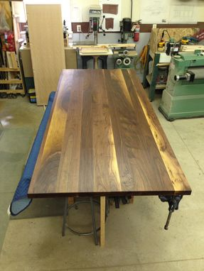 Custom Made Walnut Dining Table With Metal Base