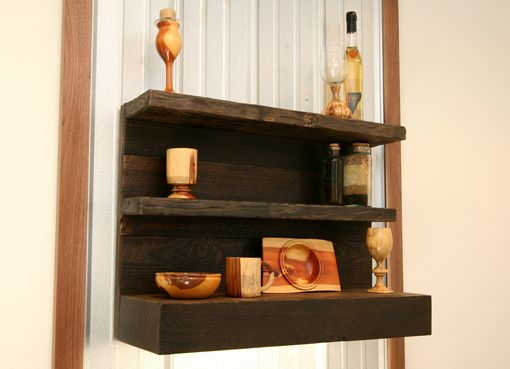 Custom Made Decorative Rustic Modern Wall Floating Shelf In Reclaimed Distressed Stained Wood
