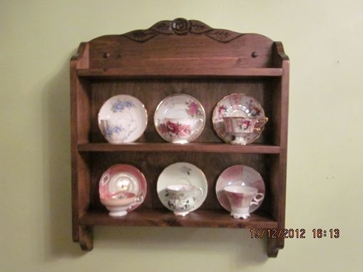 Custom Made Tea Cup Shelf, Roses And Leaves. 6 Cup