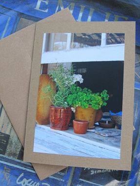 Custom Made Photo Note Card, Pretty Open Window, Blank Inside With Sticker Embellishment