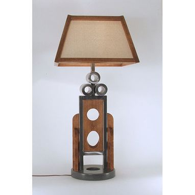 Custom Made Large Desk Lamp (Welded Steel / Cherry Stained Alder)