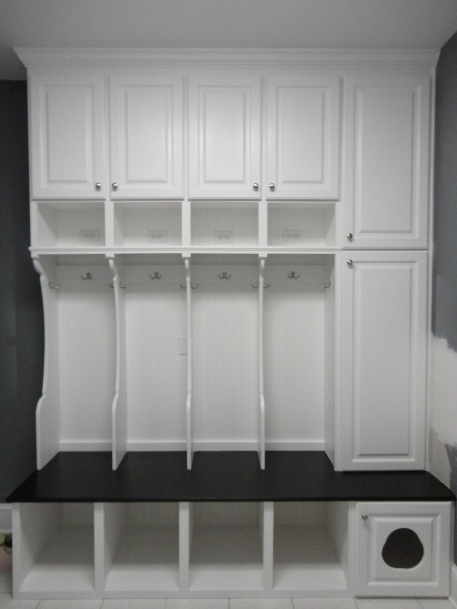 Custom Made Mudroom Locker With Cat Door And Wall Cabinet Unit