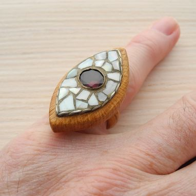 Custom Made Wooden Ring With Garnet
