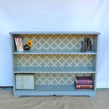 Custom Made Refinished Bookshelf In Periwinkle With Grey And White Filigree