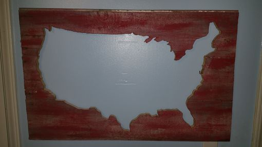 Custom Made Reclaimed Barn Wood United States Map