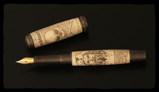 Custom Made Blackbeard Antler Scrimshaw Fountain Pen