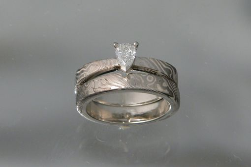 Custom Made 14kt Palladium White Gold Mokume Gane' Wedding Set With .25ct Pear Shaped Diamond