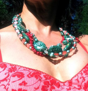 Custom Made Multi Strand Teal And Red Coral Necklace Set