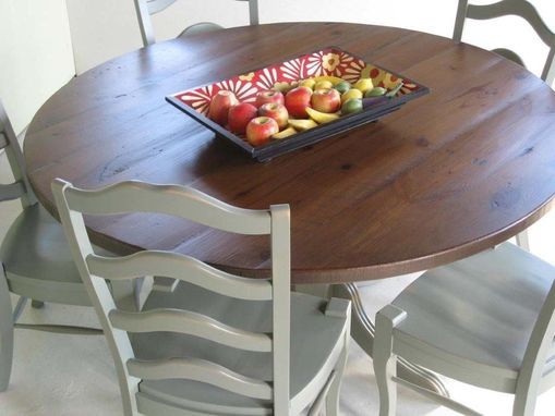 Custom Made Round Farm Table With Pedestal Base And Matching Chairs