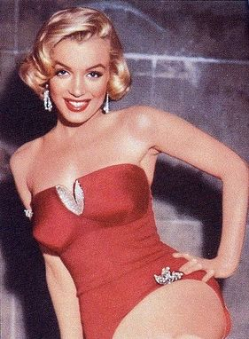 Hand Made Custom Couture Marilyn Monroe Red Swimsuit With