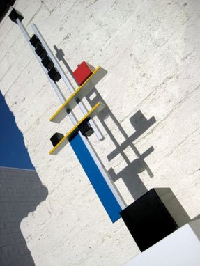 "Custom Made Mondrian-Inspired Metal Sculpture ""Level 4"""
