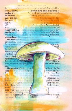 Custom Made White Mushroom Painting On Teal And Orange Background