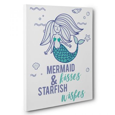 Custom Made Mermaid Kisses And Starfish Wishes Canvas Wall Art