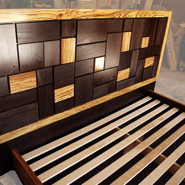 Wooden Bed Headboards Designs hand made patterned bed headboard w/ zebrawood framecc fine
