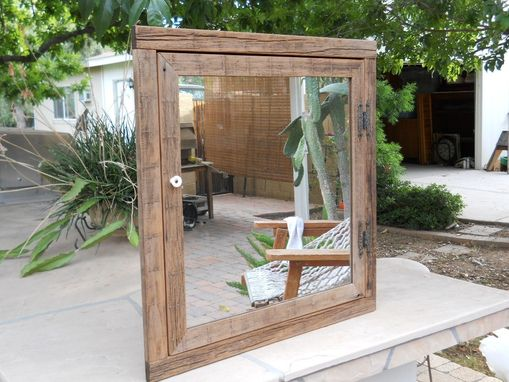 Custom Made Wooden Corner Medicine Cabinet With Mirror