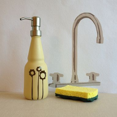 Custom Made Soap Dispenser, Oil Vinegar Bottle, Tall Flowers, Textured Yellow