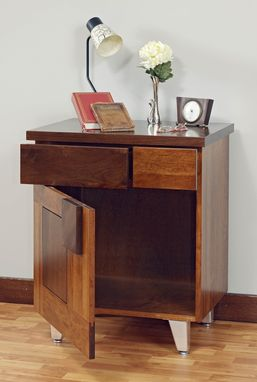 Custom Made Arial Fields Modern Walnut & Cherry Bedroom  Set - Bed, Nightstand, Dresser, Chest, Mirror