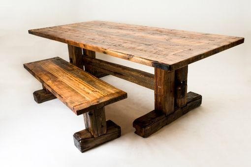 Custom Made Hand Hewn Trestle Dining Set