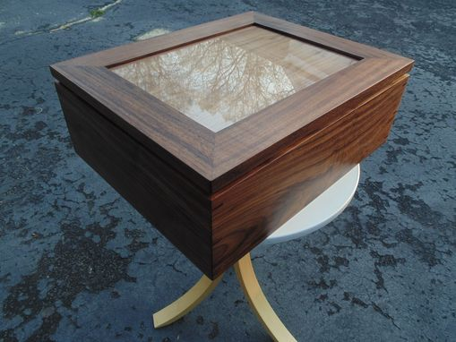 Handmade Solid Walnut Keepsake Box W Picture Frame Lid By Insight