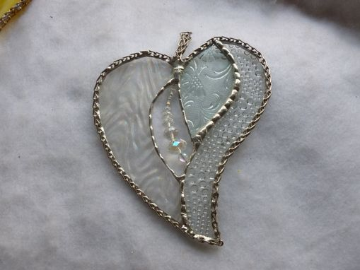 Custom Made Clear And White Beaded Stained Glass Heart