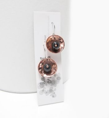 Custom Made Onyx Bead Copper Earrings - Black Copper Dangle Earrings - Copper Drop Earrings Seed Pod Dangles