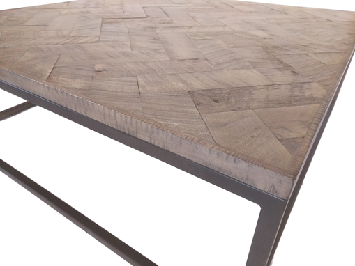 Custom Made Grey Distressed Maple Herringbone Coffee Table