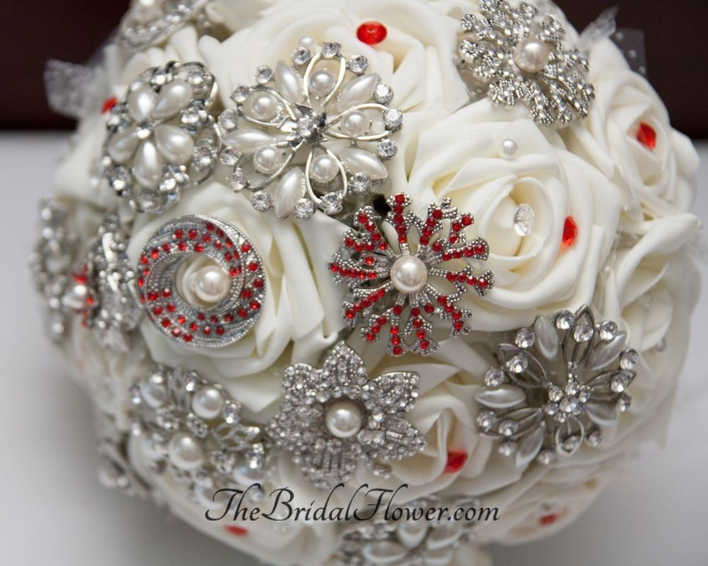 Custom Brooch Wedding Bouquet With Creamivory Roses And Red
