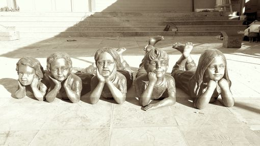 Custom Made Bronze Statues Of 5 Grand-Children