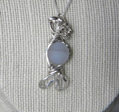 Custom Made Sea Maiden Necklace With Bluish White Sea Glass