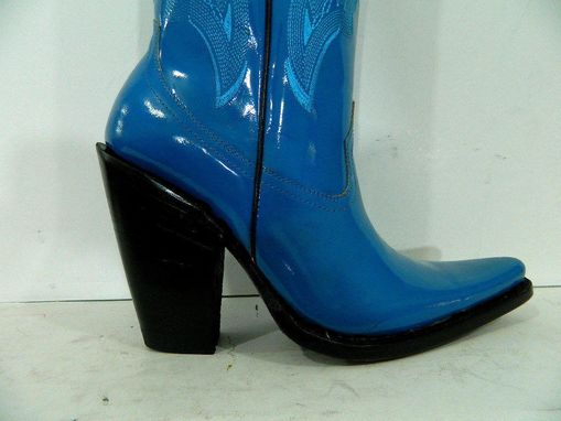 Custom Made Made To Order Patent Leather Cowboy Boots And Thight High Boots