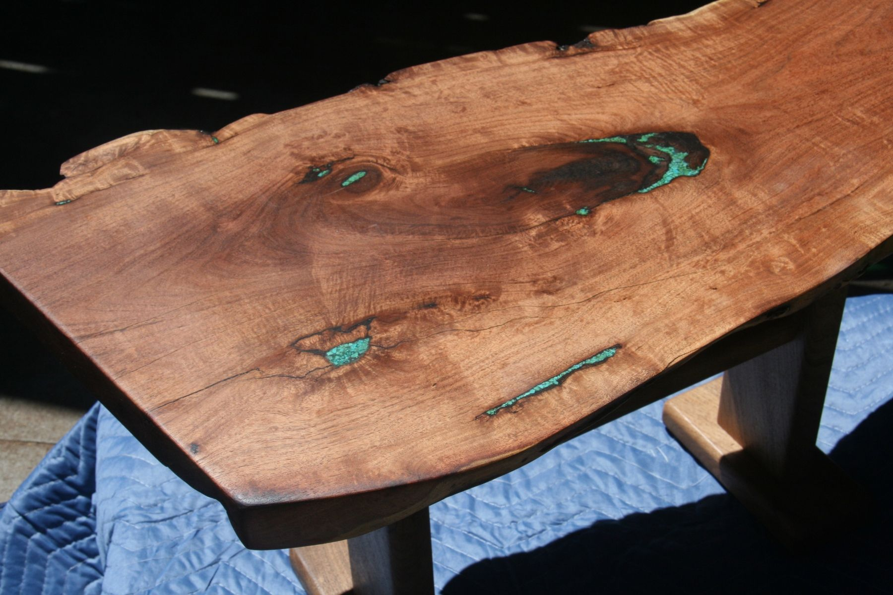 Custom Made Small Mesquite Table With Natural Edges And Turquoise Inlay