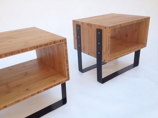 Custom Made Pair Of Open Bedside Tables - Mid Century Modern Inspired In Splash Of Black In Caramelized Bamboo