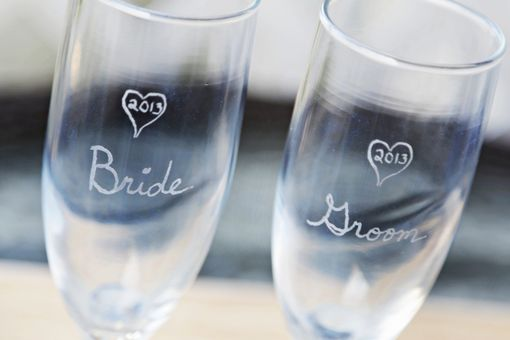 Custom Made Rustic Heart Vase Wedding Unity Sand Ceremony Set With Toasting Flutes